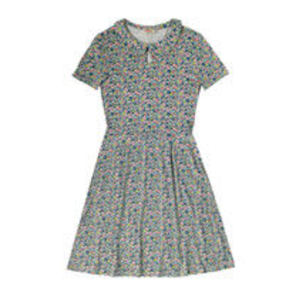 Forest Ditsy Jersey Collar Dress
