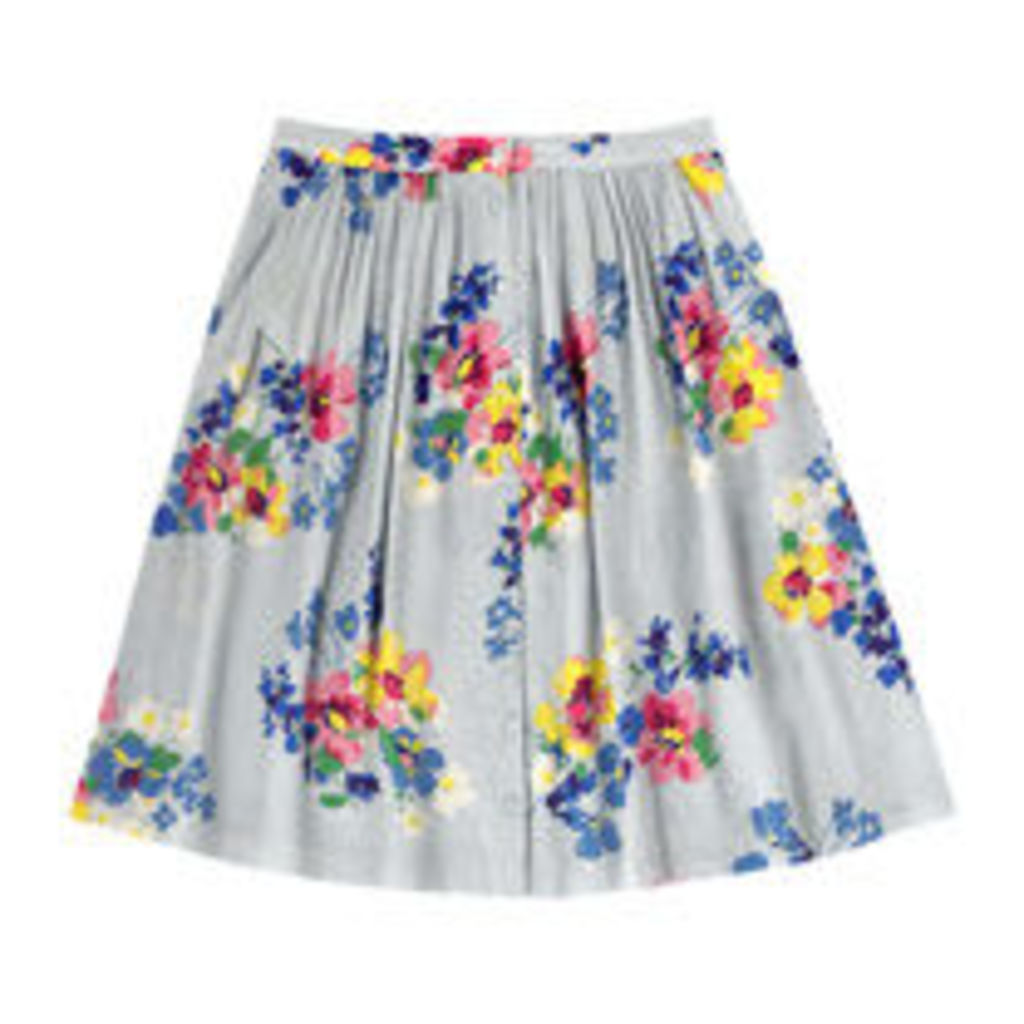 Painted Posy Button Front Skirt