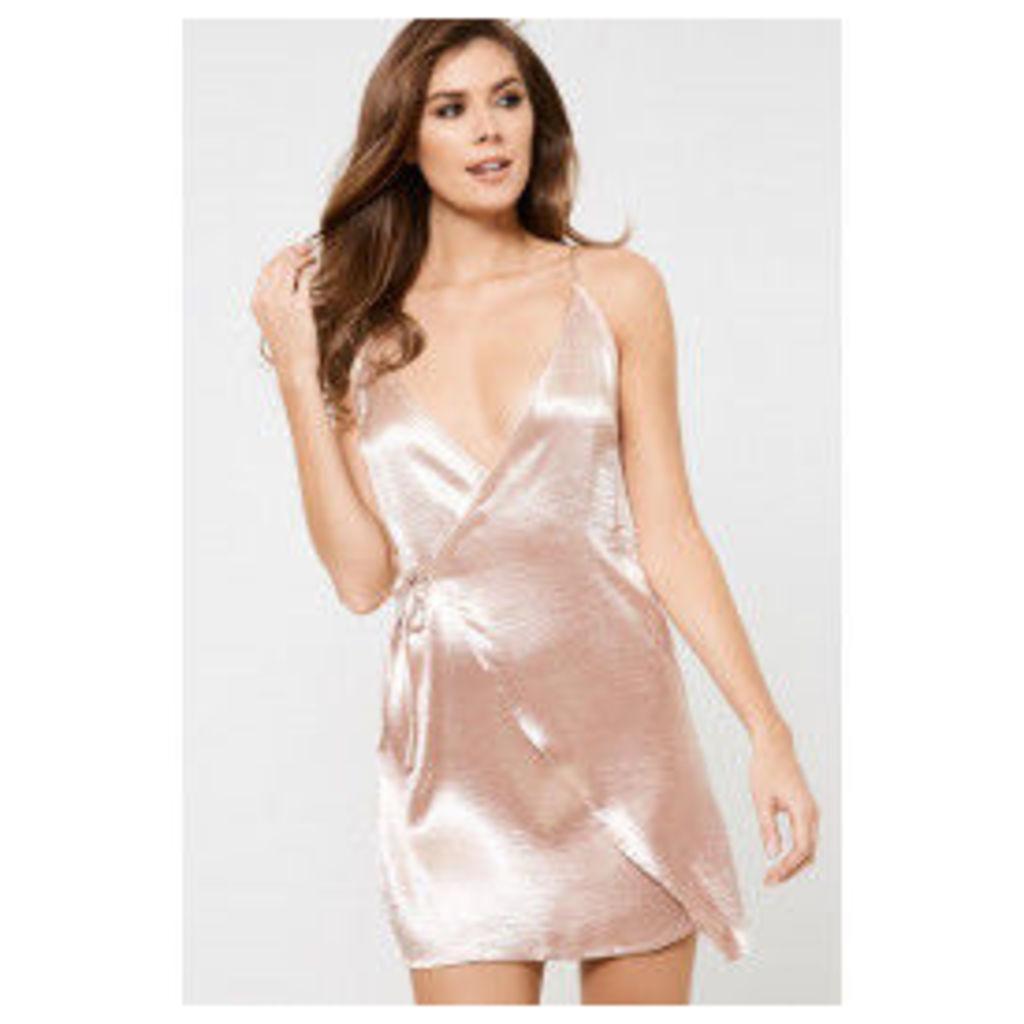 Girl In Mind Silk Wrap Slip Dress - Pink