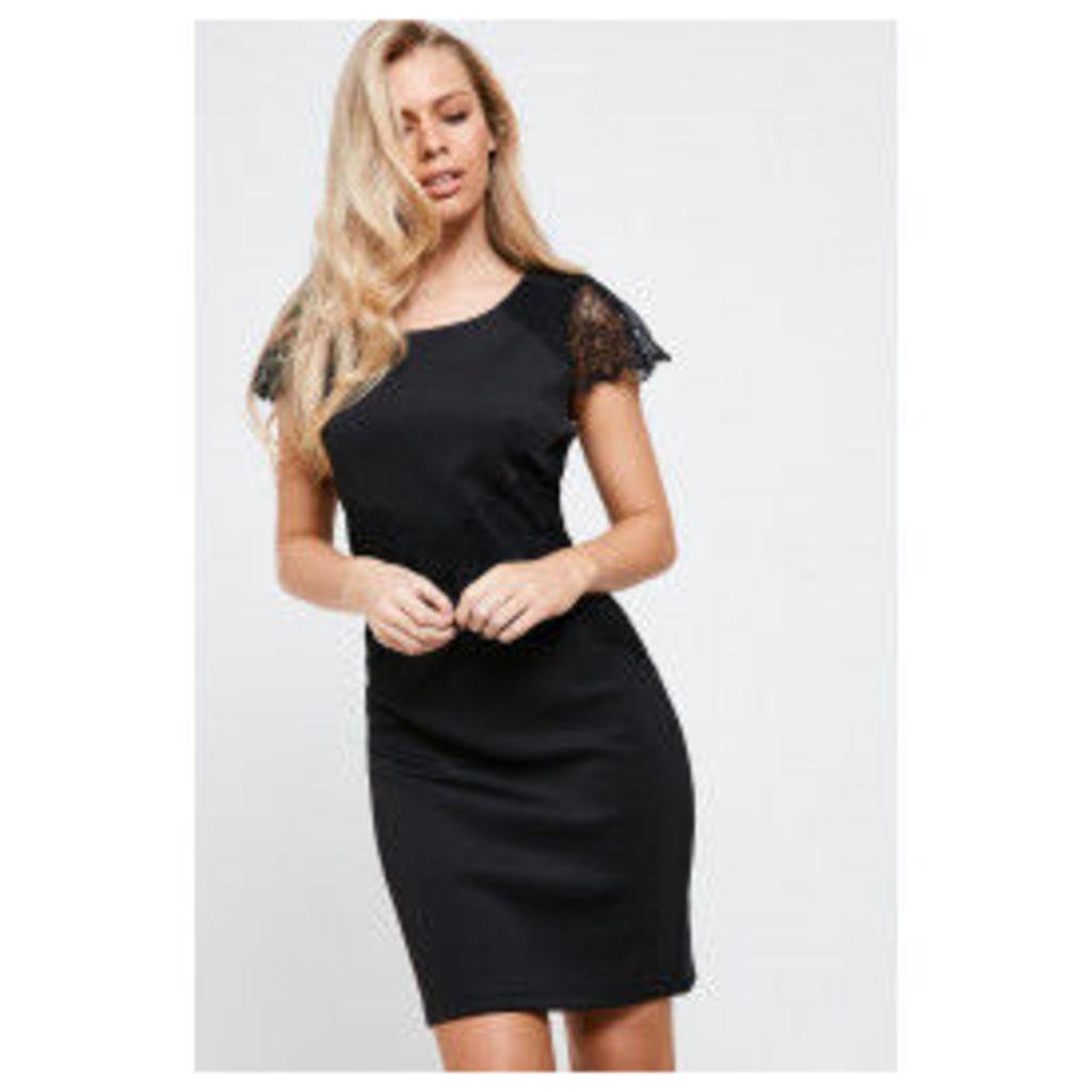 Vila Daisy Lace Detail Dress - Black