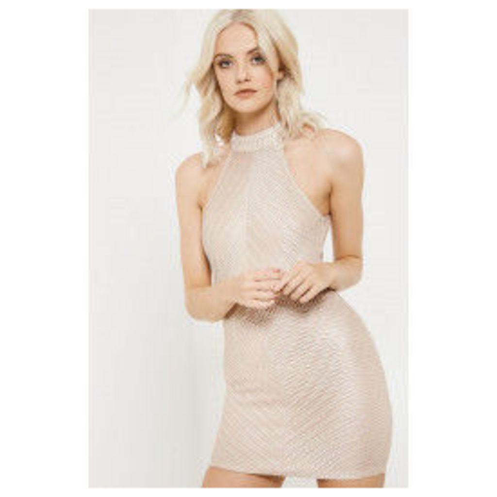 Girl In Mind Halterneck Lace Mini Dress - Nude
