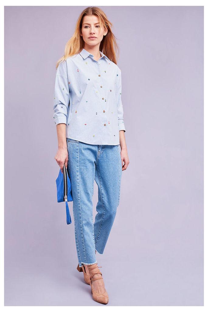 Elodie Striped Beaded Shirt, Blue