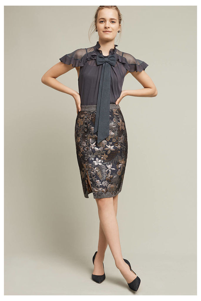 Tuileries Embroidered Pencil Skirt, Grey