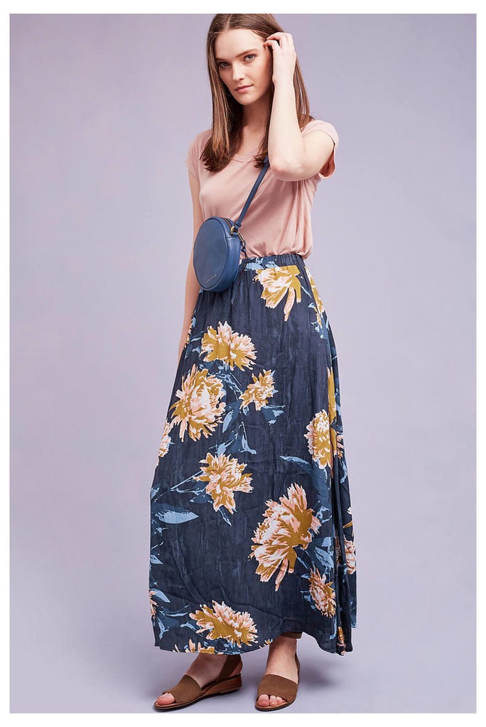 Via Floral Maxi Skirt, Blue