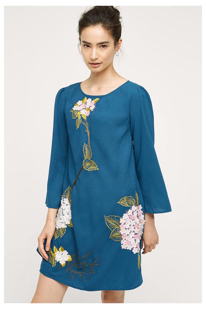 Hydrangea Floral Swing Dress, Blue