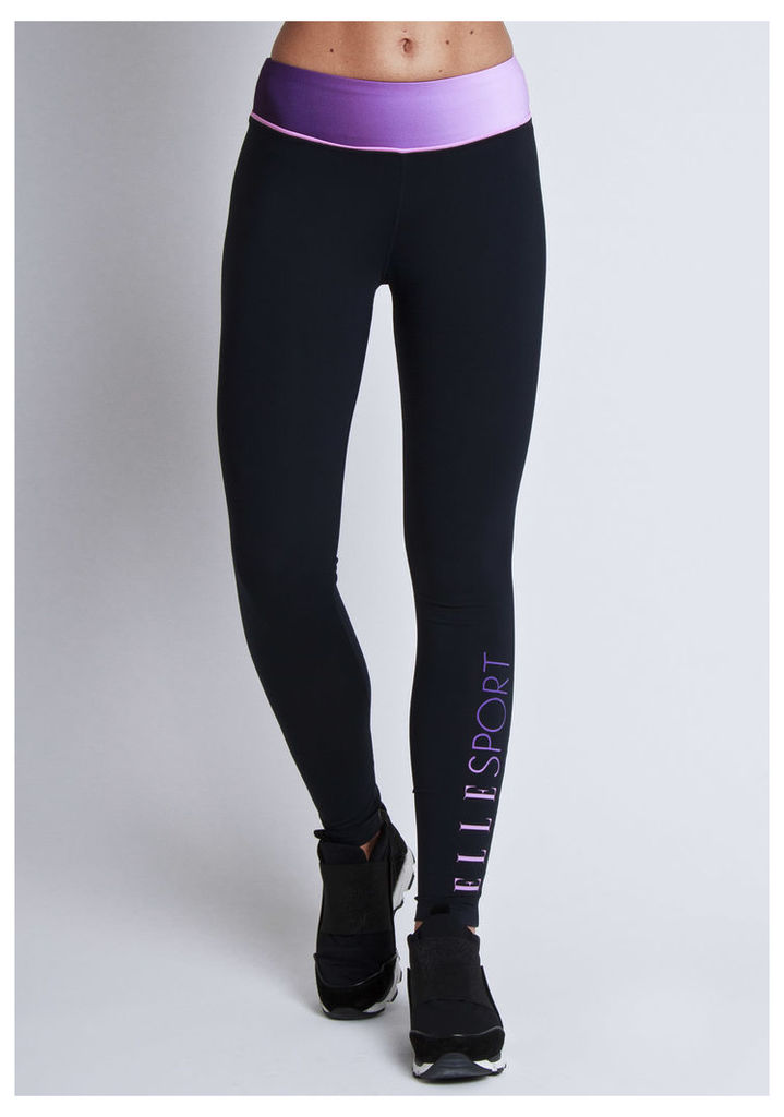 ELLESPORT royal grape printed tight with waist pipe