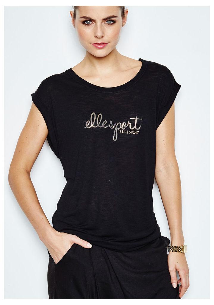 ELLESPORT Drop Shoulder Slash Neck T-Shirt