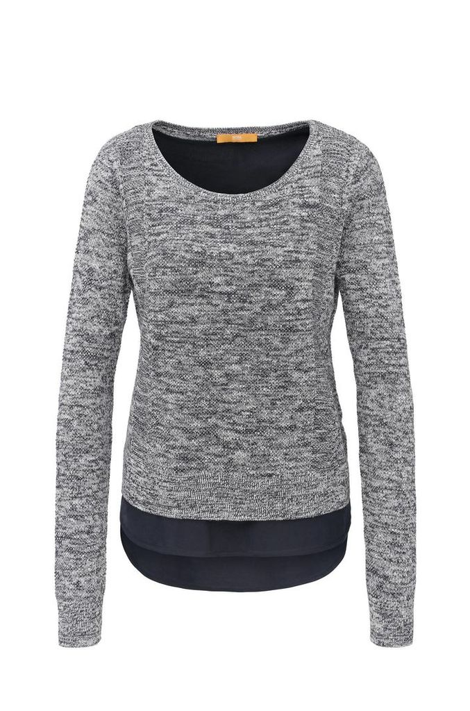 Relaxed-fit knitted sweater made from a linen blend with cotton in a layered look: `Warradyn`