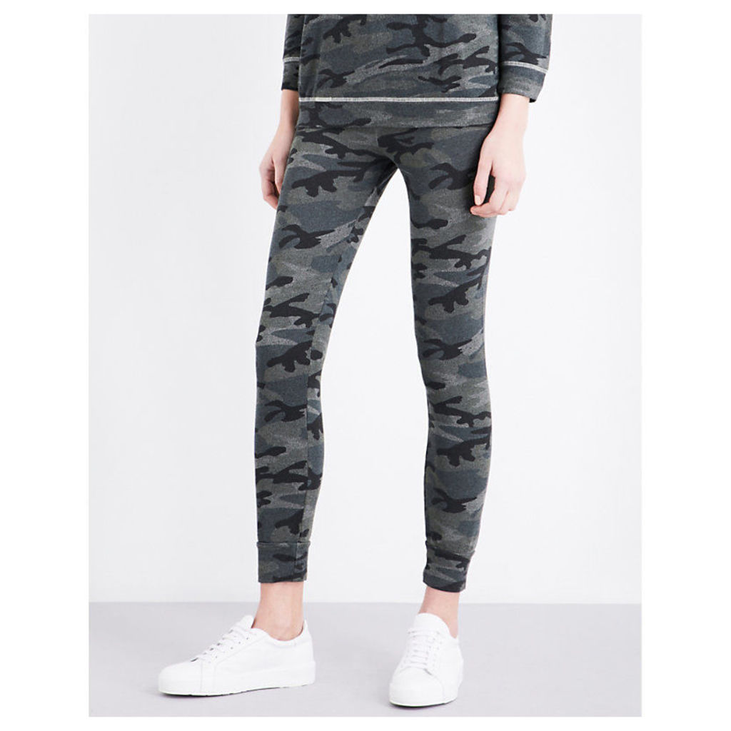 Sundry Camouflage-Print Skinny Jersey Jogging Bottoms, Women's, Size: Small, Army