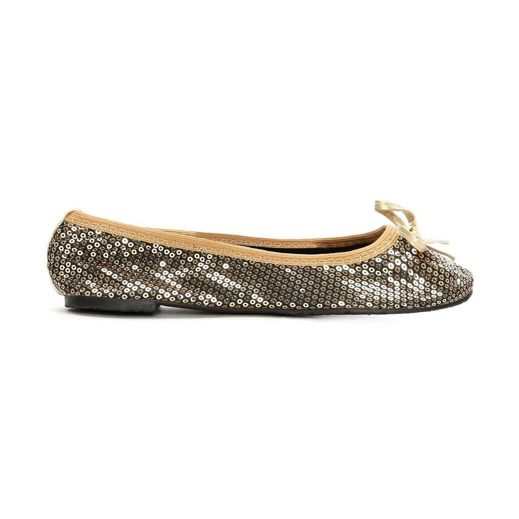 Moda in Pelle Pocket Ballerina Gold Flat Casual Shoes