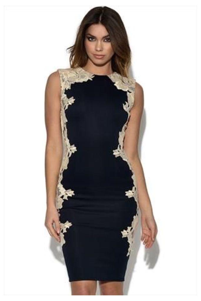 AX Paris Navy Lace Crochet Side Dress