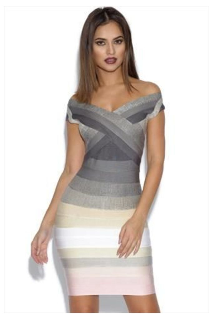 Grey and Pink Ombre Bandage Dress