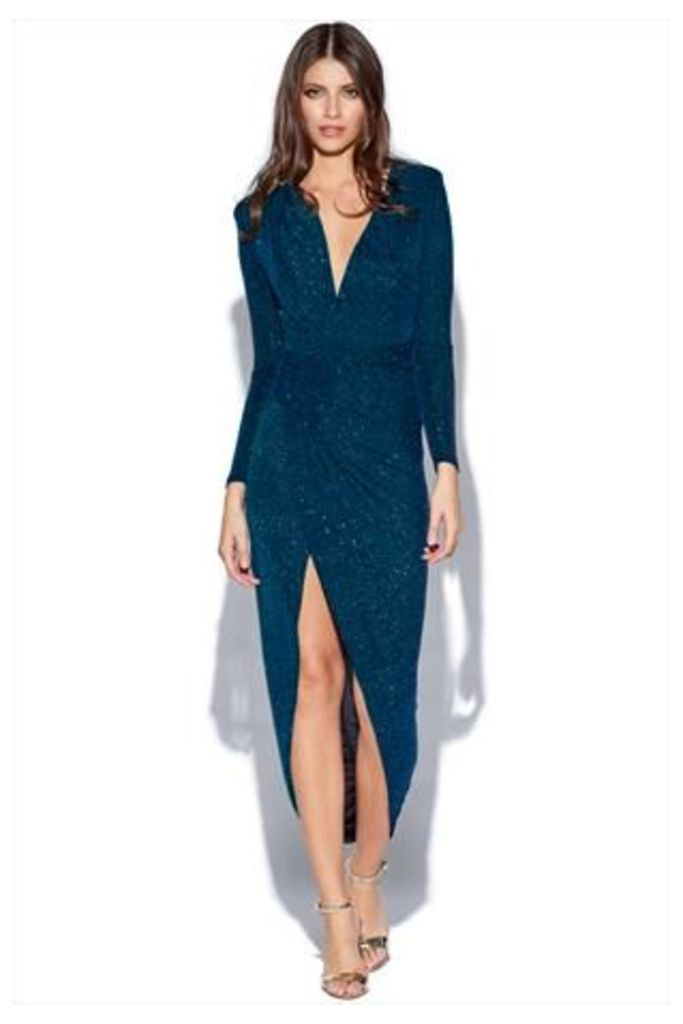 Sparkle Plunge Neck Structured Dress