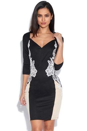 Long Sleeve Plunge Neck Lace Side Dress