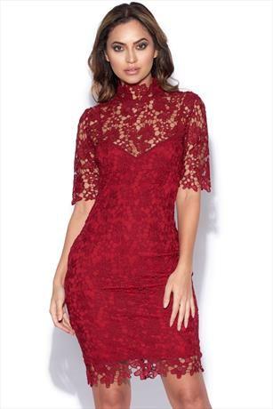 Three Quarter Sleeve Lace Overlay Collar Dress