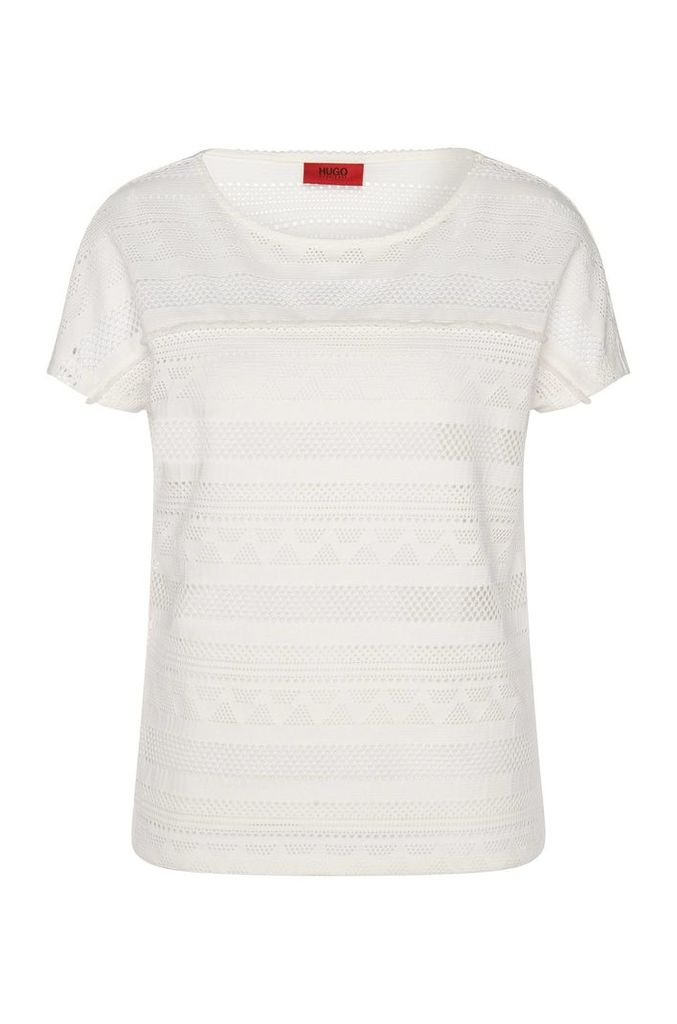 T-shirt with cutwork embroidery: `Dellace`