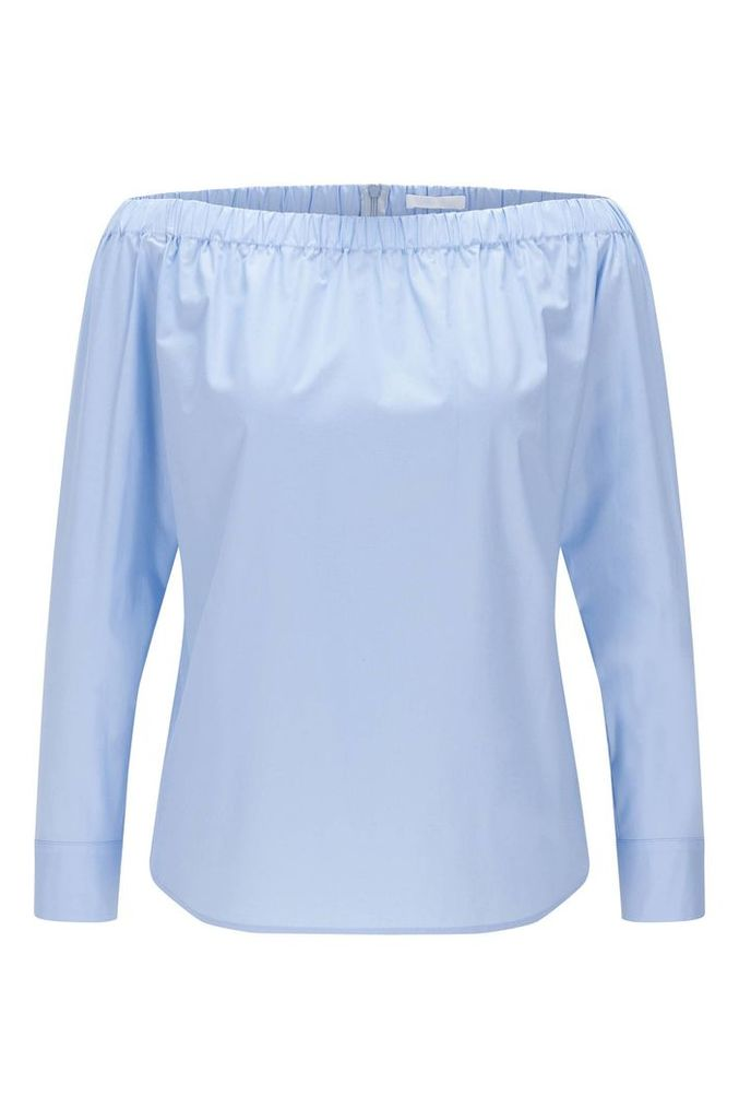 Plain Carmen blouse in stretch cotton: `Bagiana`