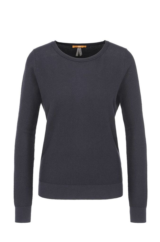 Relaxed-fit sweatshirt in cotton blend with silk in a honeycomb texture: `Injkey_2`