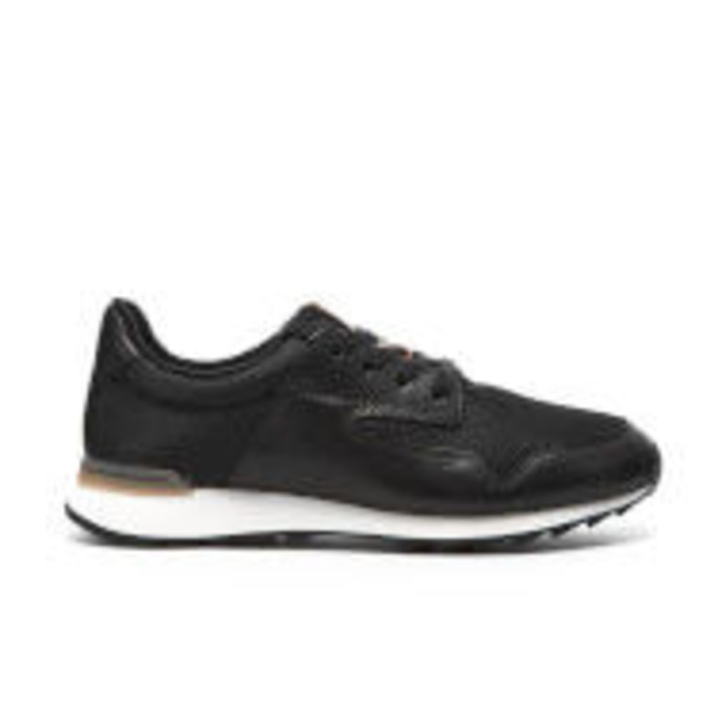 Clarks Women's Floura Mix Leather Runner Trainers - Black - UK 7