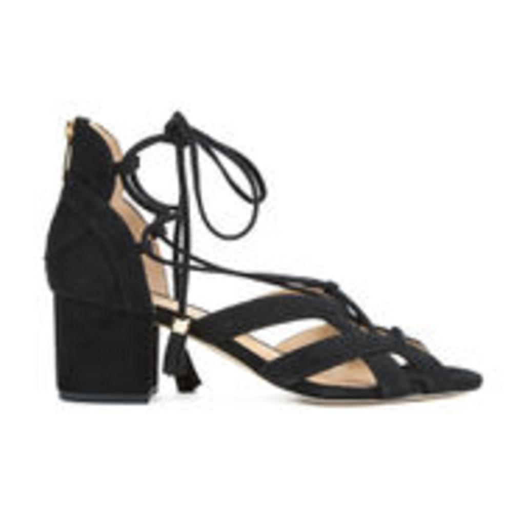 MICHAEL MICHAEL KORS Women's Mirabel Leather Mid Heeled Sandals - Black - US 7.5/UK 4.5