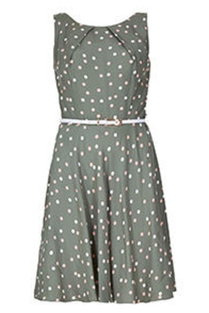 Khaki Pink & White Polkadot Print Structured Dress