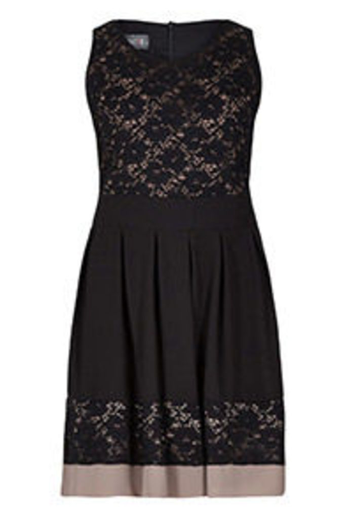 Black & Stone Floral Lace Panel Structured Dress