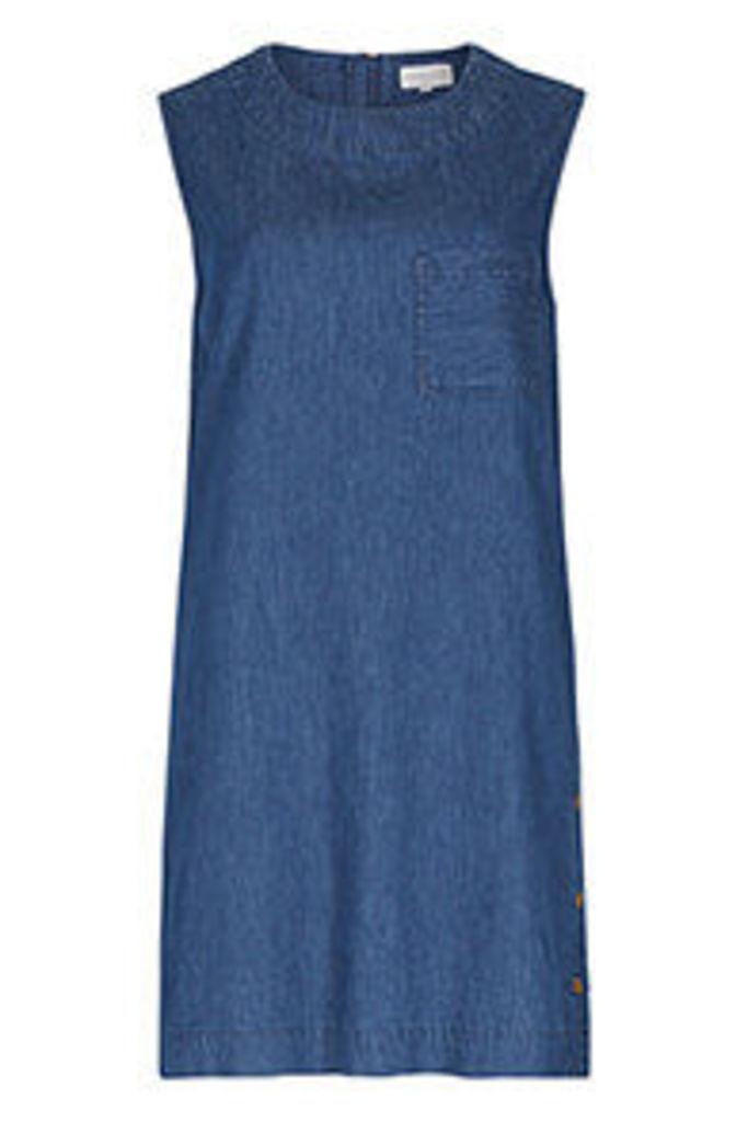 Blue Denim Look Side Poppers Shift Dress