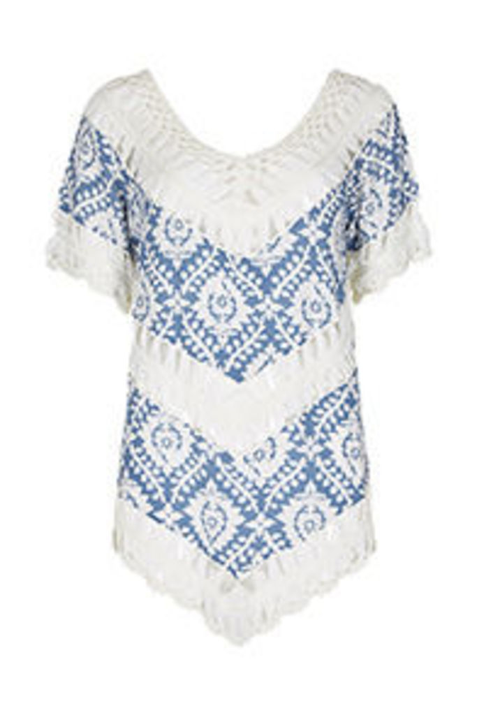 Blue & White Ornate Print Crochet Top