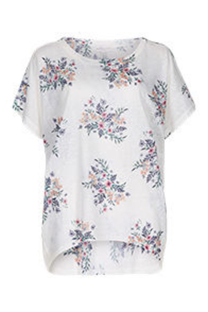 White Spring Floral Bouquets Print T-Shirt
