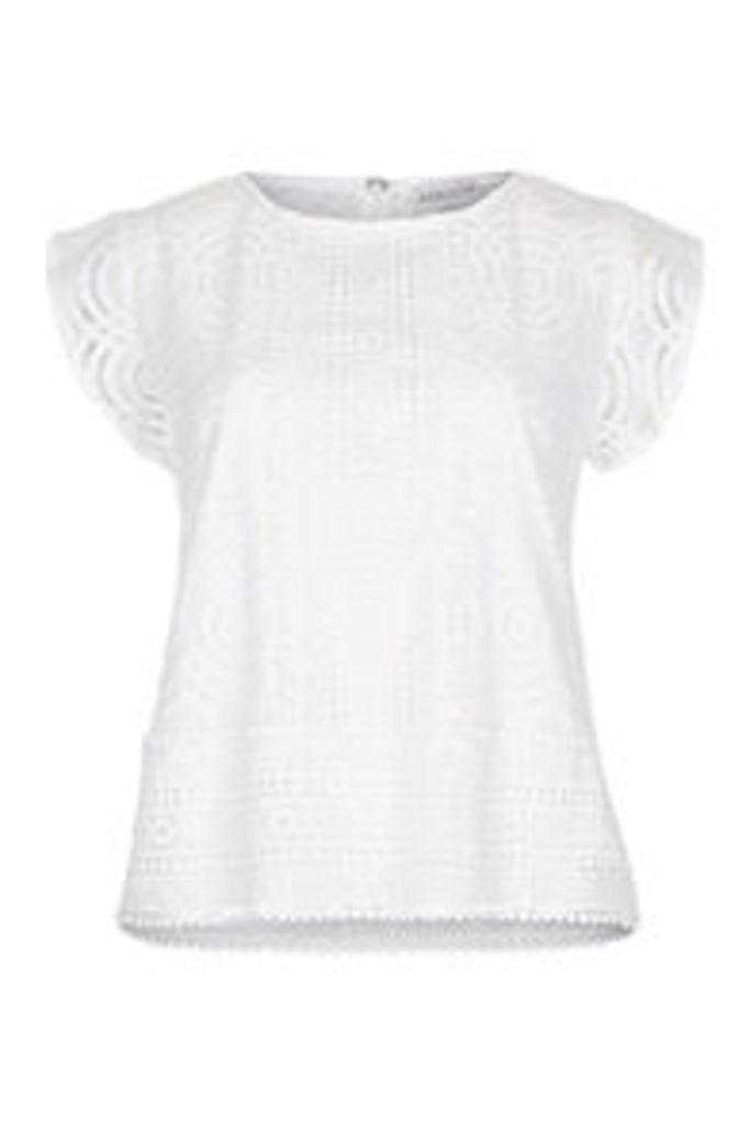 White Circular Lace Crochet Trim Blouse