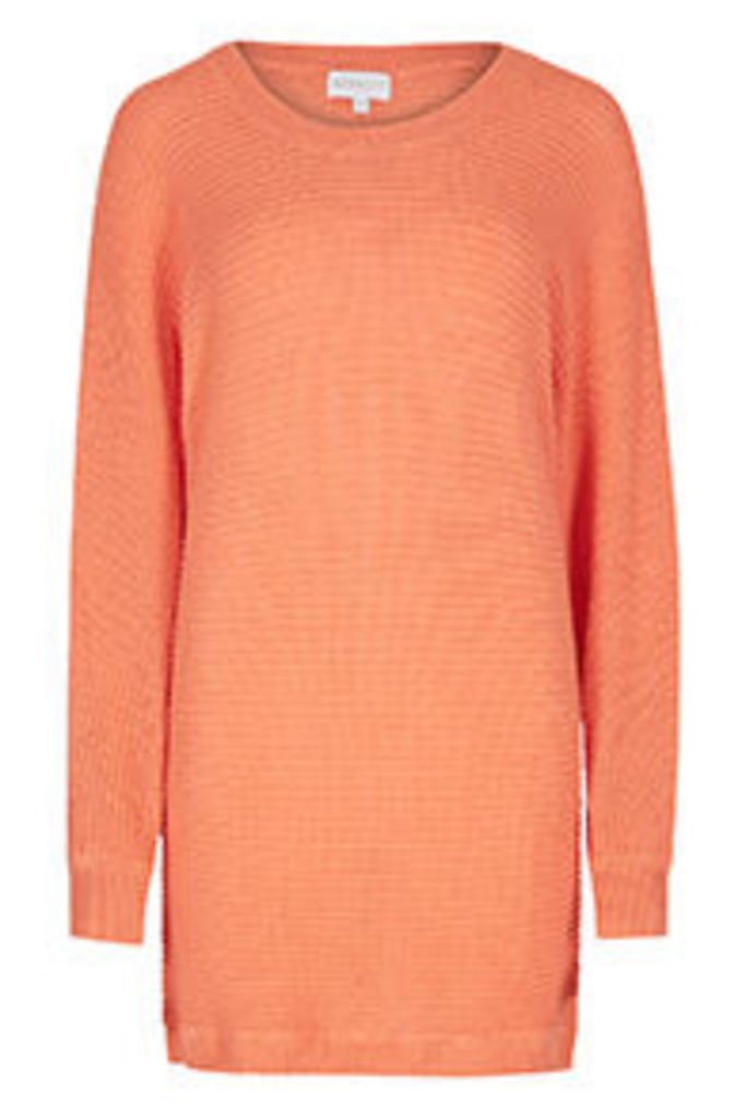 Coral Button Up Back Batwing Jumper