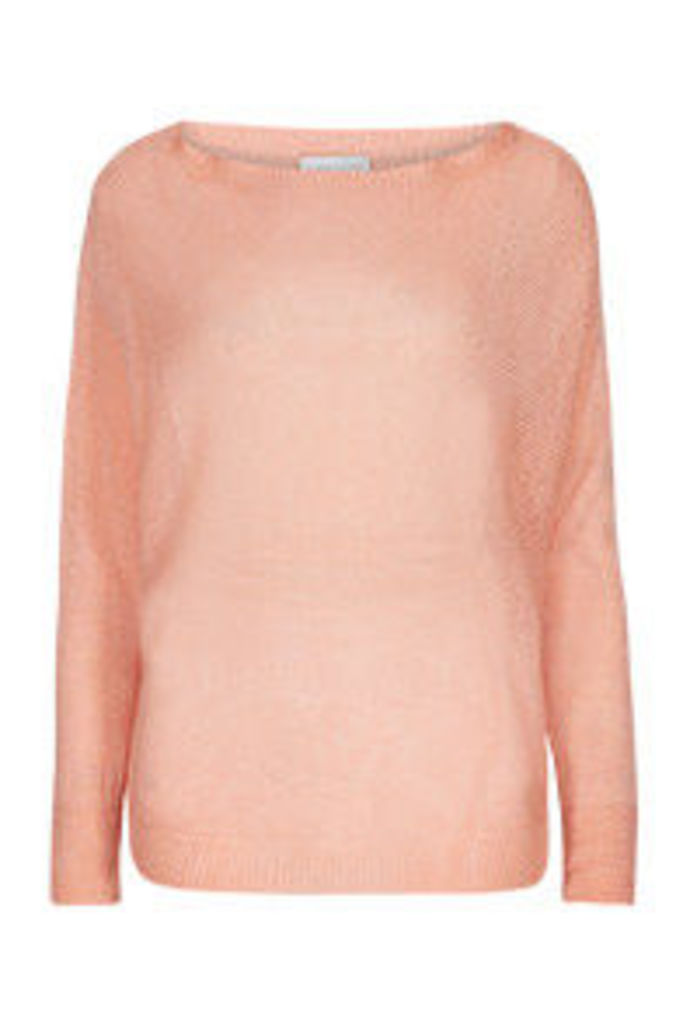 Coral Batwing Sleeve Fine Knit Jumper