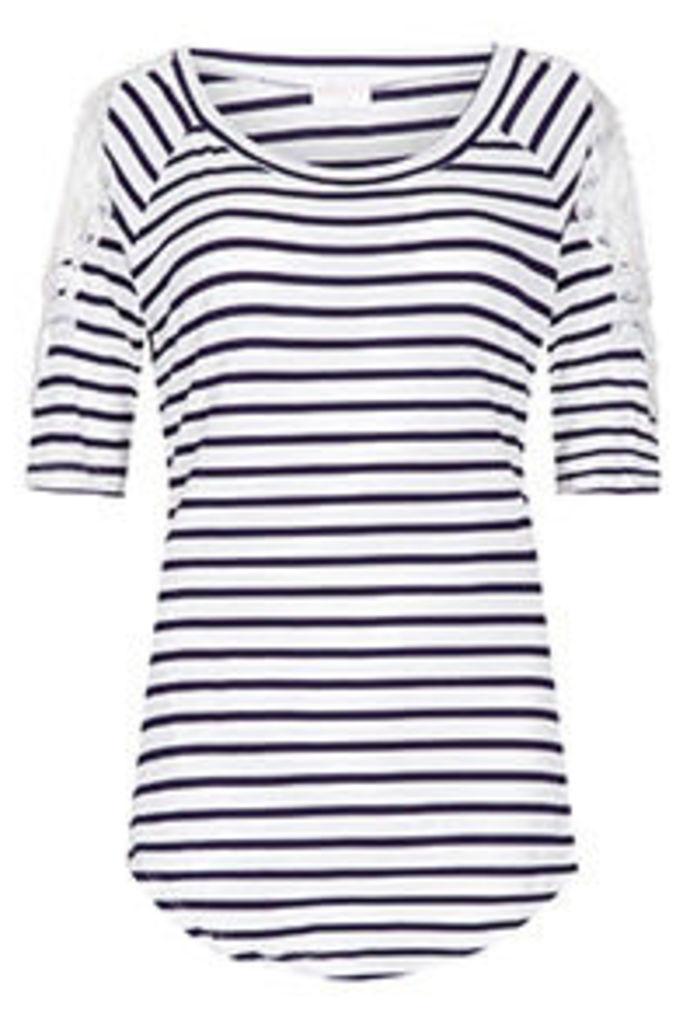 White & Navy Stripe Print Crochet Cold Shoulder Top