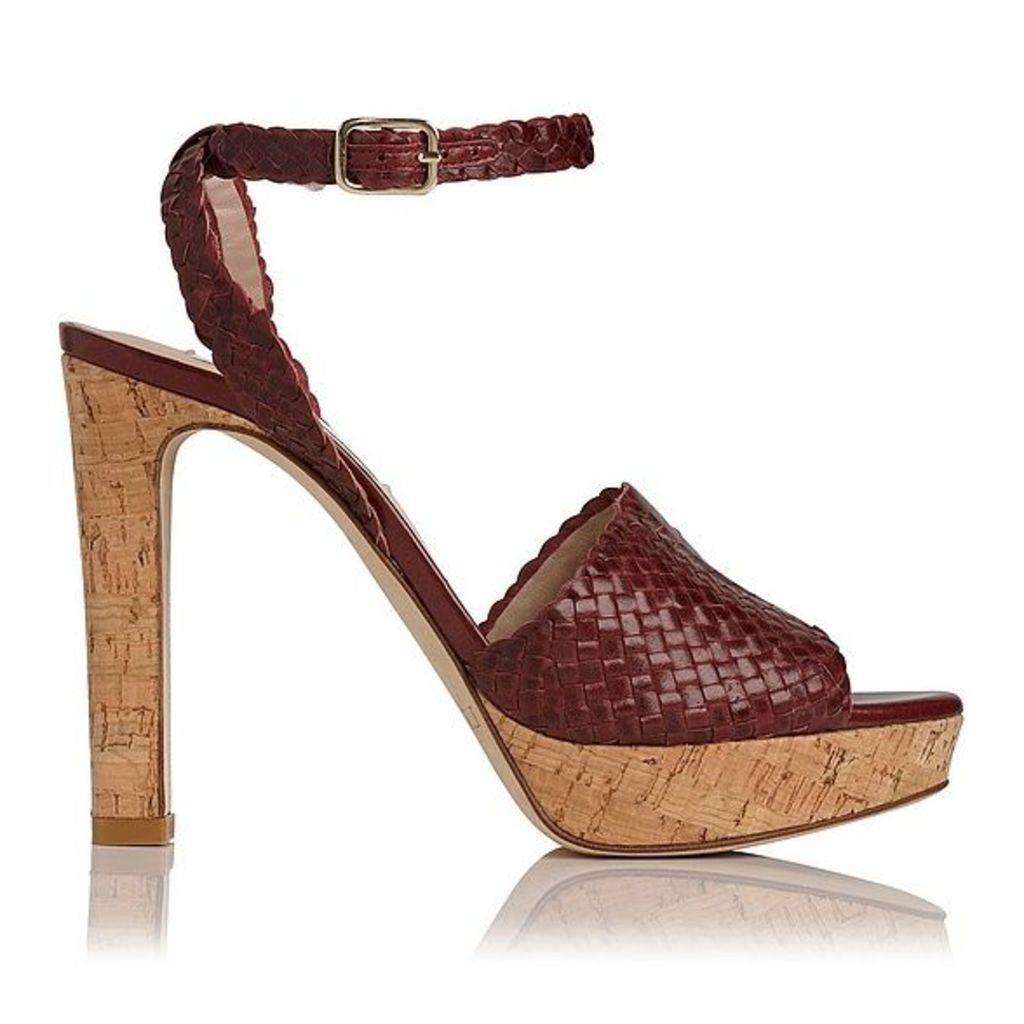 Margot Burgundy Woven Leather Formal Sandals