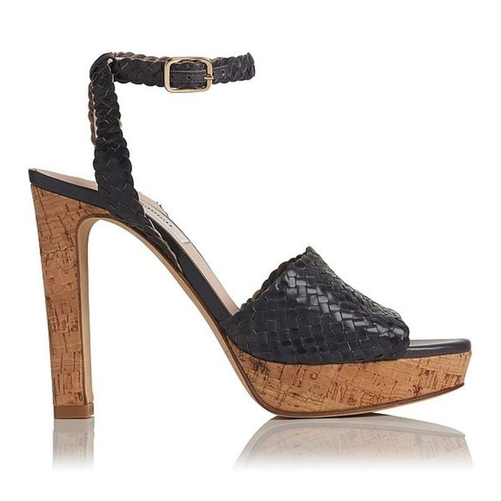 Margot Navy Woven Leather Formal Sandals
