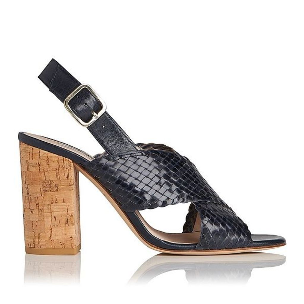 Mel Navy Woven Leather Formal Sandals