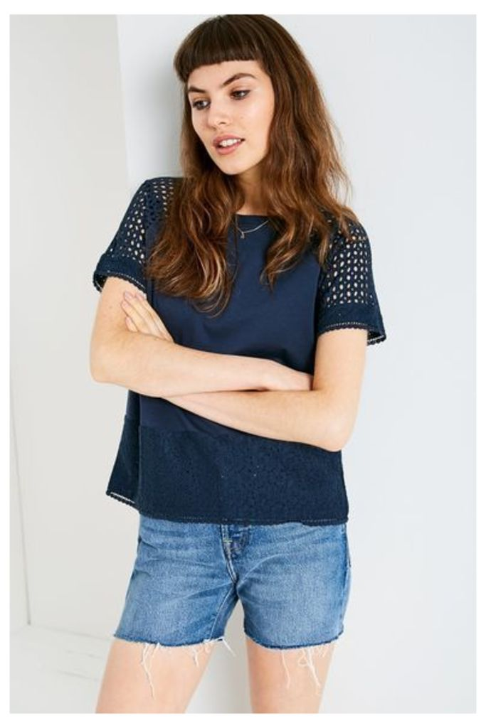 BRENTHALL LACE T-SHIRT NAVY