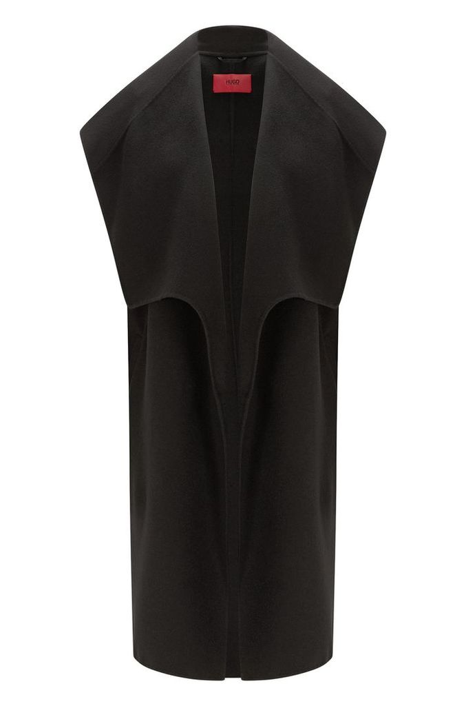 Long waistcoat in wool blend with wide shawl collar: `Merce-2`