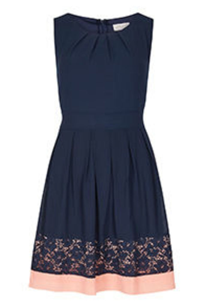 Navy & Coral Colour Block Structured Dress