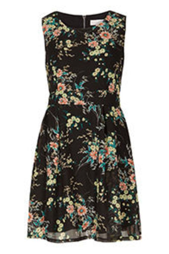 Black Multi-Coloured Citrus Floral Print Structured Dress