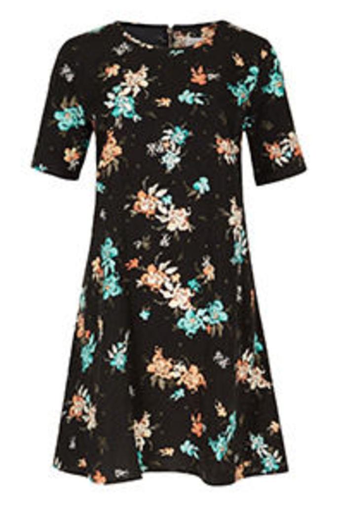 Black Aqua & Coral Tropical Floral Print Swing Dress