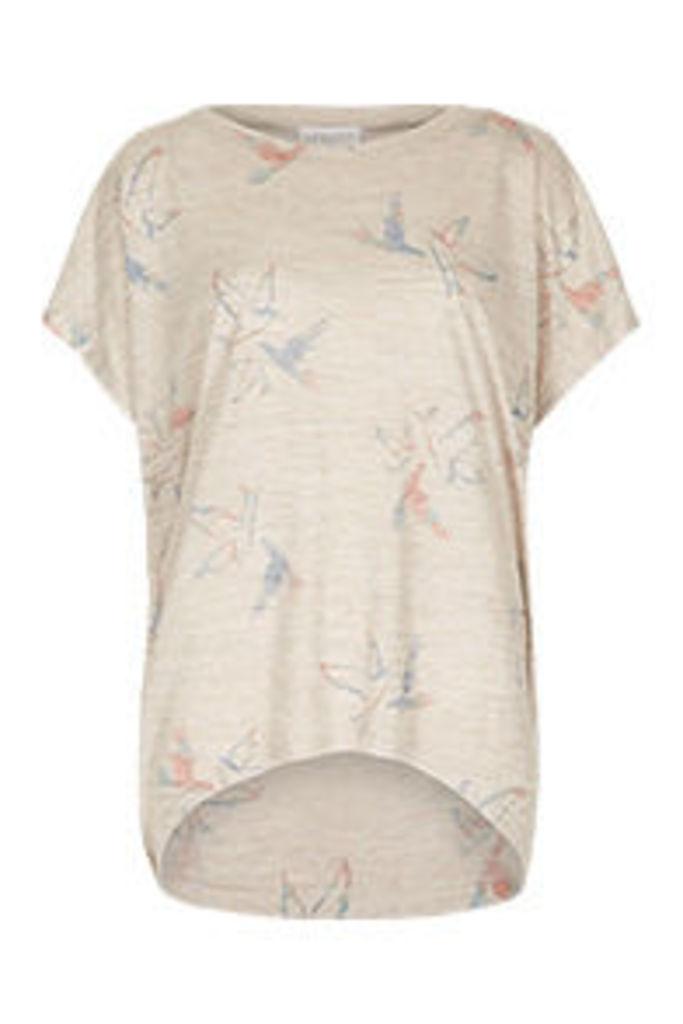 Cream Coral & Yellow Birds Print T-Shirt