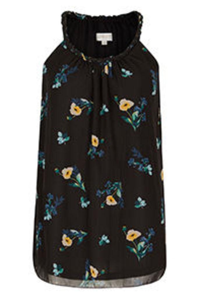 Black Teal & Yellow Buttercup Floral Print Vest