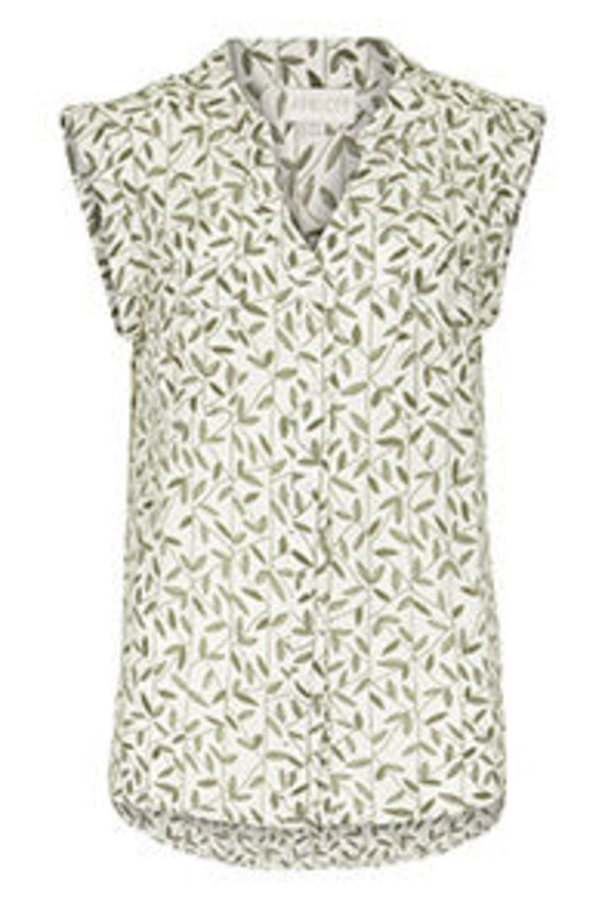 White & Khaki Leafy Print Shirt