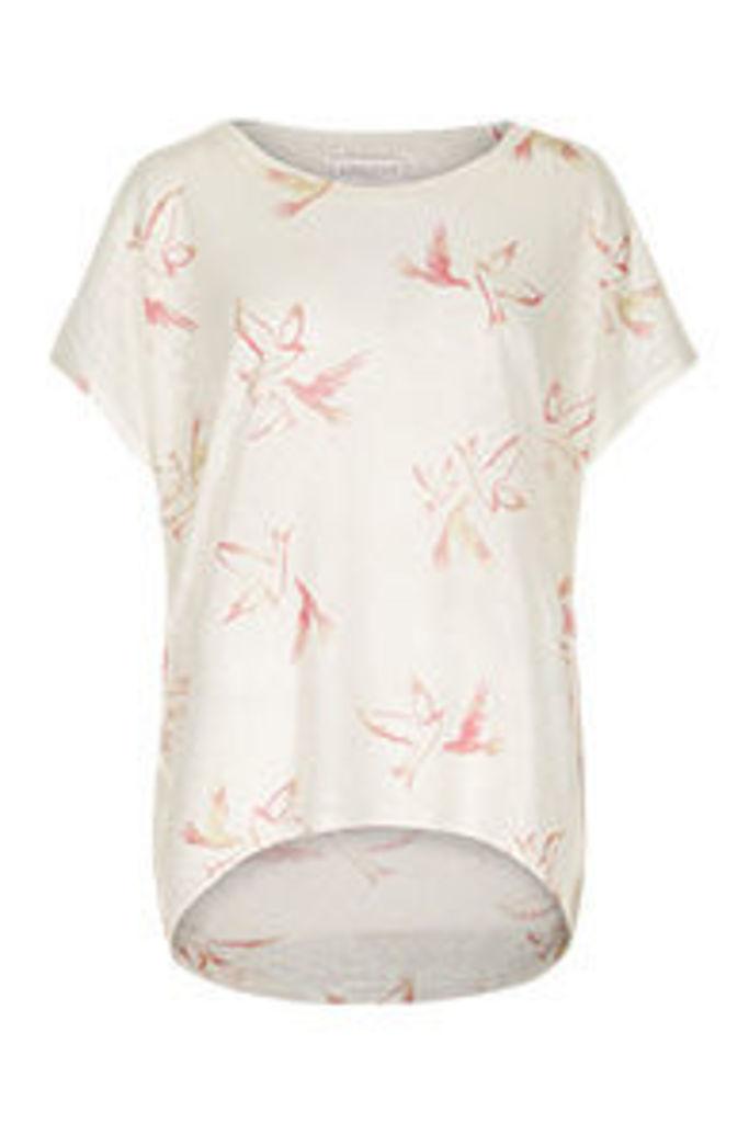 Stone Blue & Coral Birds Print T-Shirt
