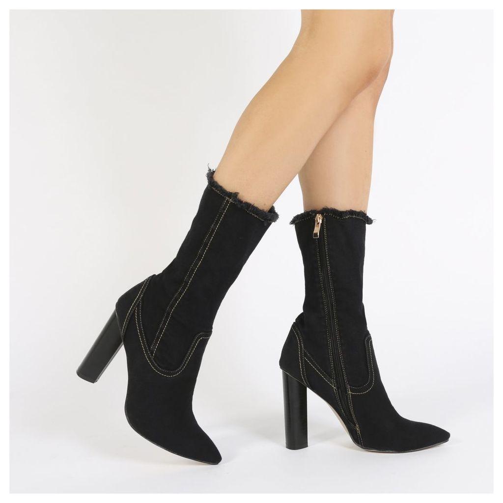 Ashanti Sock Fit Stretch Boots in Black Denim