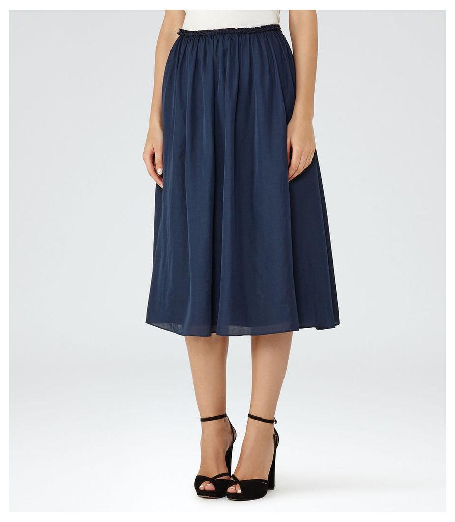 REISS Alissa - Womens Gathered Midi Skirt in Blue