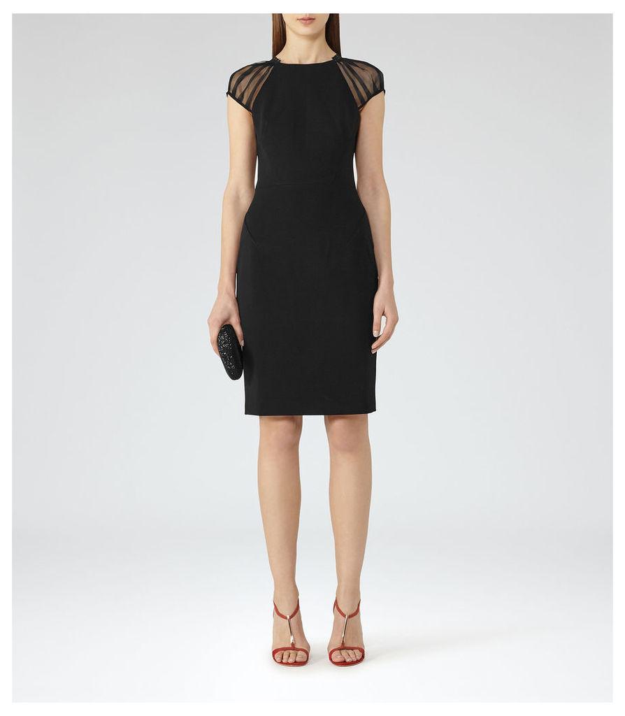REISS Rowane - Womens Sheer Sleeve Dress in Black