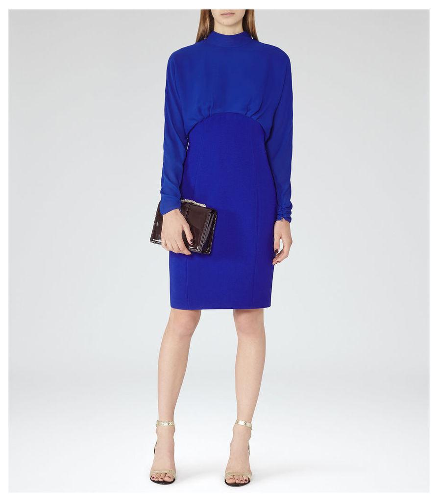 REISS Arwen - Womens High-neck Evening Dress in Blue