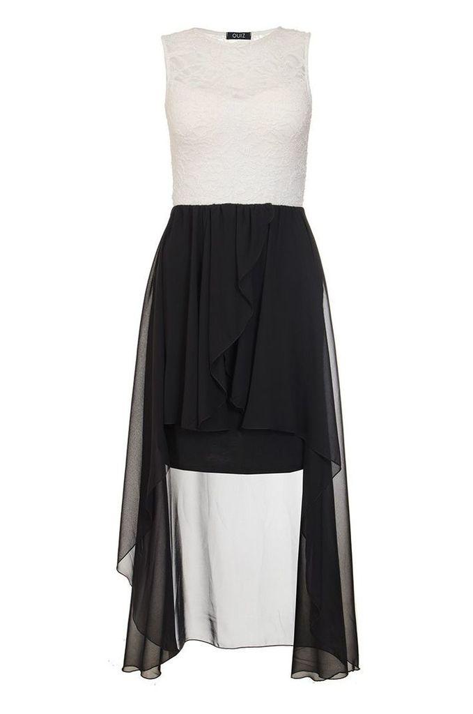 Quiz Cream And Black Lace Dip Hem Dress, Cream